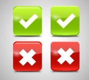 Controllo rosso e verde Mark Icons di vettore Fotografie Stock Libere da Diritti