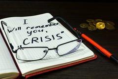 Controllo sopra le finanze in tempo di crisi Fotografia Stock