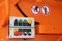 Controls. Garbage truck controls. Control of truck hydraulic system. Control table Royalty Free Stock Photo