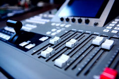 Controls of audio mixing console Royalty Free Stock Photos