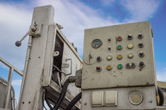 Controls. Concrete pump controls, dashboard on the machine for concrete pumping Royalty Free Stock Photos