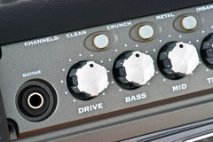 Controls of a guitar amplifier Stock Photo