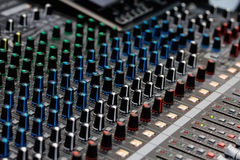 Controls of sound mixing console Stock Image
