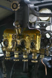 Controls on a steam train. Dials and pipes on a steam locomotive Royalty Free Stock Image