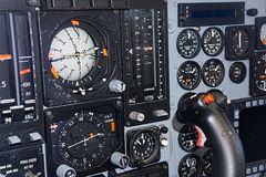 Controls of vintage fighter aircraft. View of the controls of a vintage Australian F111 fighter aircraft showing dials and gauges Stock Images