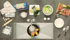 Controsoffitto di pietra con i piatti ed i prodotti Panorama Fotografie Stock Libere da Diritti