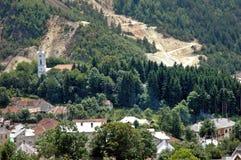 Controversial gold mine excavation, Rosia Montana, Romania Stock Image