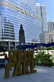 Controversial Public Art. This is a Summer picture of a piece of public art titled Real Fake locatedalong Wacker Drive in Chicago, Illinois in Cook County.  This Royalty Free Stock Photos