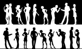 Controversy. Silhouettes of conflicting men and women Vector Illustration