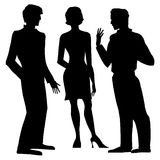 Controversy. Two men and a lady stock illustration