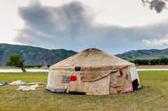 Contructing Mongolian yurt Stock Photos