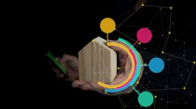 Contruction de concept, achats, sécurité, à la maison et financier futés images libres de droits