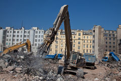 Contruction dismantling machine Stock Photo