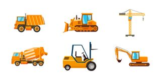 Contruction machine icon set, cartoon style. Contruction machine icon set. Cartoon set of contruction machine vector icons for web design isolated on white Stock Photography
