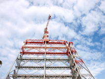 Contruction structure with crane on top. High contruction structure with crane on top Stock Photo