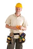Contruction worker or hadyman. Construction worker with tools, studio photo including clipping path stock images
