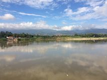 Contry village. Flooded rice paddy in the village Royalty Free Stock Image
