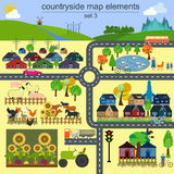 Contryside引起的您自己的infographics, ma地图元素 图库摄影