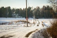 Contryside en invierno, Noruega del canal del camino Imágenes de archivo libres de regalías