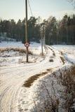 Contryside en invierno, Noruega del canal del camino Imagenes de archivo