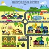 Contryside-Kartenelemente für die Erzeugung Ihres eigenen infographics, MA Stockfotografie