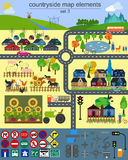 Contryside map elements for generating your own infographics, ma Stock Image