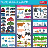 Contryside map elements Royalty Free Stock Image