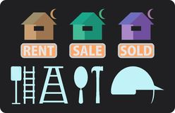 Conttructions and property icon. Image of conttruction and property icon in black background Stock Photography