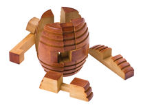 Conundrum collect barrel. Logical wooden puzzles to train your brain Royalty Free Stock Photography