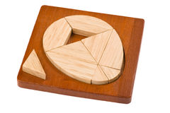 Conundrum with geometric shapes. Logical wooden puzzles to train your brain Royalty Free Stock Images