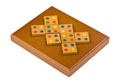 Conundrum isolated. Logical wooden puzzles to train your brain Royalty Free Stock Images