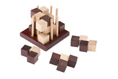 Conundrum. Logical wooden puzzles to train your brain Stock Photo
