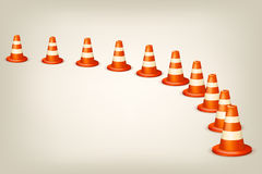Conusus. Illustration of set of red white cones in one line Stock Photography