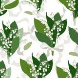 Convallaria majalis bezszwowy wzór - Lilly dolina - royalty ilustracja