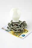 Convection electric lamp and money Royalty Free Stock Photos