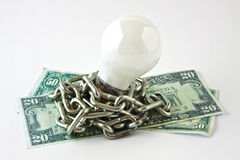 Convection electric lamp and money Royalty Free Stock Image