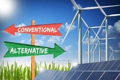 Convencional contra a energia alternativa imagens de stock royalty free