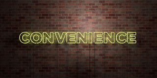 CONVENIENCE - fluorescent Neon tube Sign on brickwork - Front view - 3D rendered royalty free stock picture. Can be used for online banner ads and direct royalty free illustration