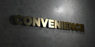Convenience - Gold text on black background - 3D rendered royalty free stock picture. This image can be used for an online website banner ad or a print stock illustration