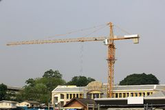 Cranes for high rise construction for larger buildings. stock images