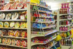 Convenience Store. Variety of instant noodle, snack, and sweet in Korea convenience shop. Photo was taken on 26 October 2012 stock image