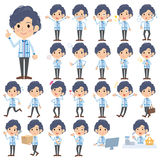 Convenience store Blue uniforms men. Set of various poses of Convenience store Blue uniforms men Royalty Free Stock Images