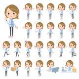Convenience store blue uniforms women Stock Image