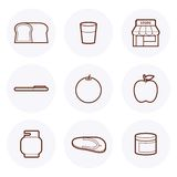 Convenience Store Icon #3. Convenience Store items Icon. these are some of the items available in a 24-hour grocery store stock illustration
