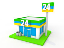 Convenience store. Image of a 24-hour convenience store stock illustration