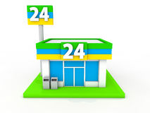 Convenience store. Image of a 24-hour convenience store royalty free illustration