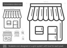 Convenience store line icon. Convenience store vector line icon isolated on white background. Convenience store line icon for infographic, website or app stock illustration
