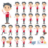 Convenience store red uniforms men. Set of various poses of Convenience store red uniforms men Royalty Free Stock Photography
