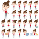 Convenience store red uniforms women. Set of various poses of Convenience store red uniforms women Stock Images