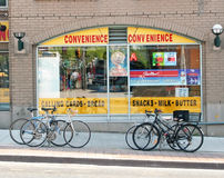 Convenience Store. In Toronto Canada with bicycles in front Royalty Free Stock Photos